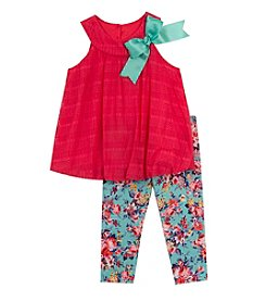 Rare Editions® Baby Girls' Bubble Top With Floral Leggings