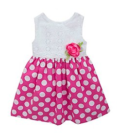 Rare Editions® Baby Girls' Eyelet And Polka Dot Printed Dress