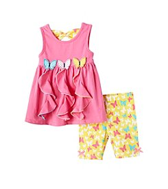 Nannette® Baby Girls' Butterfly Top And Bike Shorts Set