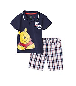 Nannette® Baby Boys' Winnie The Pooh Polo and Plaid Shorts Set
