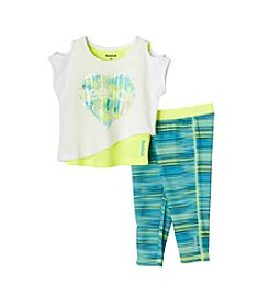 Reebok® Baby Girls' Cold Shoulder Top Over Tank With Active Leggings Set