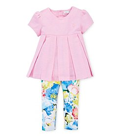 Ralph Lauren Childrenswear Baby Girls' 3-24M Pleated Top With Floral Pants