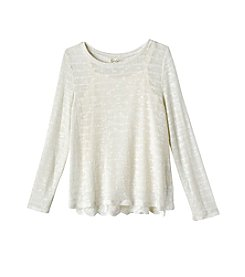 Jessica Simpson Girls' 7-16 Long Sleeve Lace Hem Tee
