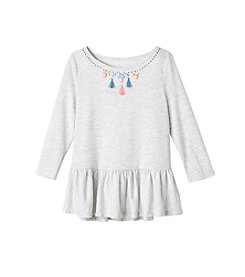 Jessica Simpson Girls' 7-16 3/4 Sleeve Ruffle Bottom Sweatshirt