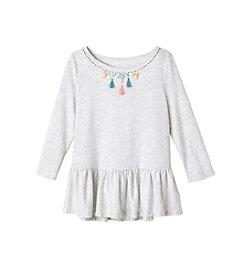 Jessica Simpson Girls' 7-16 3/4 Sleeve Ruffle Bottom Sweatshirt