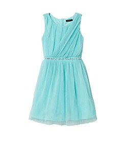 Sequin Hearts® Girls' 7-16 Sleeveless Mesh Dress With Sparkly Waistband