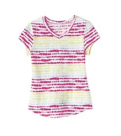 Miss Attitude Girls' 2T-6X Short Sleeve V-Neck Striped Tee