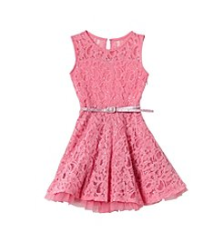 Beautees Girls' 2T-6X Sparkly Lace Dress