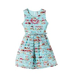 Beautees Girls' 2T-6X Floral Striped Dress