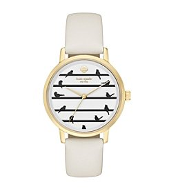 Kate Spade New York® Women's Goldtone Metro Birds On A Wire White Leather Watch
