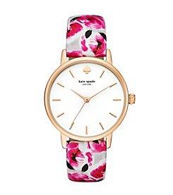 kate spade new york® Women's Goldtone Metro Rose Print Leather Watch