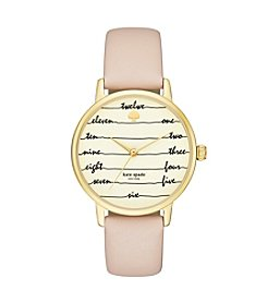 kate spade new york® Women's Goldtone Metro Chalkboard Vachetta Leather Watch