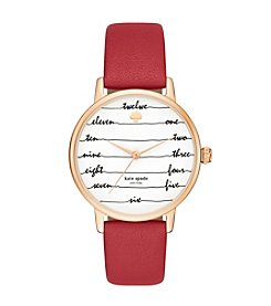 Kate Spade New York® Women's Rose Goldtone Metro Chalkboard Red Leather Watch