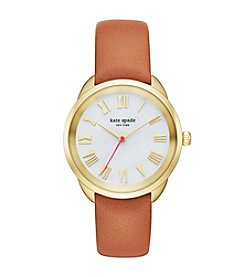 kate spade new york® Women's Goldtone Crosstown Luggage Leather Watch with Mother of Pearl Dial