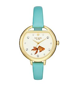 kate spade new york® Women's Goldtone Metro Fishbowl Mint Splash Leather Watch