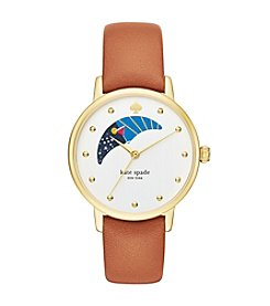kate spade new york® Women's Goldtone Metro Moonphase Luggage Leather Watch