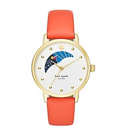 kate spade new york® Women's Goldtone Metro Moonphase Bright Papaya Leather Watch