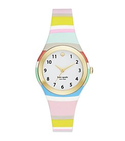 kate spade new york® Women's Goldtone Rumsey Multi-Color Striped Silicone Watch