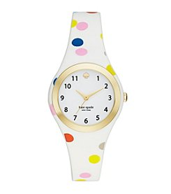 kate spade new york® Women's Goldtone Rumsey Multicolor Dot Silicone Watch