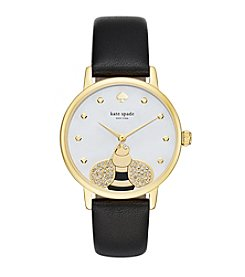 kate spade new york® Women's Goldtone Metro Crystal Bee Black Leather Watch