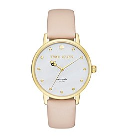 kate spade new york® Women's Goldtone Metro Time Flies Vachetta Leather Watch