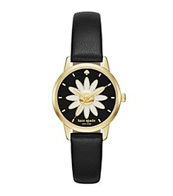 kate spade new york® Women's Goldtone Mini Metro Daisy Black Leather Watch