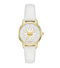 kate spade new york® Women's Goldtone Mini Metro Daisy White Leather Watch