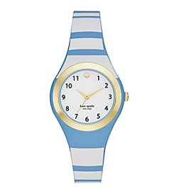 kate spade new york® Women's Goldtone Rumsey Alice Blue Striped Silicone Watch