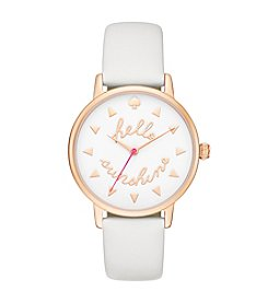 kate spade new york® Women's Rose Goldtone Metro Hello Sunshine White Leather Watch