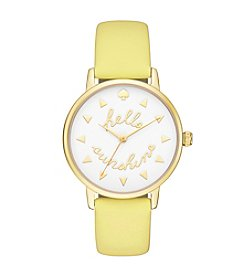 kate spade new york® Women's Goldtone Metro Hello Sunshine Lemonade Leather Watch