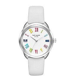 kate spade new york® Women's Silvertone Crosstown White Leather Watch