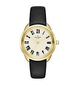kate spade new york® Women's Goldtone Crosstown Black Leather Watch