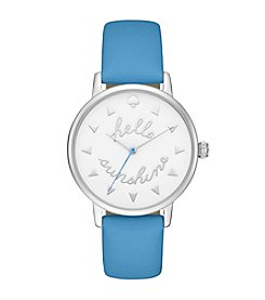 kate spade new york® Women's Silvertone Metro Hello Sunshine Alice Blue Leather Watch