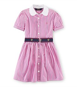 Ralph Lauren Childrenswear Girls' 2T-6X Striped And Belted Shirt Dress