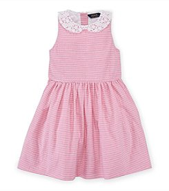 Ralph Lauren Childrenswear Girls' 2T-6X Peter Pan Collar Seersucker Dress
