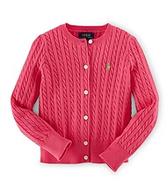 Ralph Lauren Childrenswear Girls' 2T-6X Cable Knit Cardigan Sweater