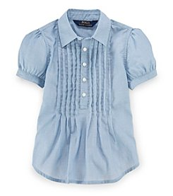 Polo Ralph Lauren® Girls' 2T-6X Pleated Puff Sleeve Shirt