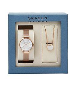 Skagen Denmark Women's Rose Goldtone Anita Watch and Necklace Boxset