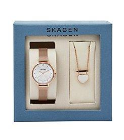 Skagen Denmark Women's Rose Goldtone Anita Watch and Necklace Boxset