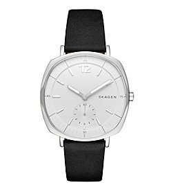 Skagen Denmark Women's Silvertone Rungsted Watch With Black Leather Band