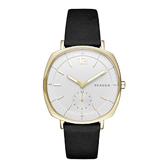 Skagen Women's Goldtone Rungsted Watch With Black Leather