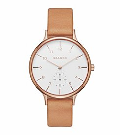 Skagen Denmark Women's Rose Goldtone Anita Watch with Natural Leather Strap