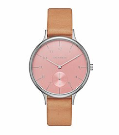 Skagen Denmark Women's Silvertone Anita Watch with Natural Leather Strap