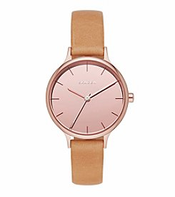 Skagen Denmark Women's Rose Goldtone Anita Mirror Dial Watch With Natural Leather Strap