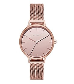 Skagen Denmark Women's Rose Goldtone Anita Mirror Dial Watch With Mesh Bracelet