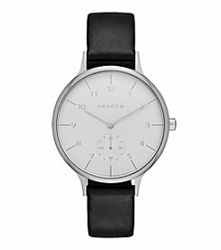 Skagen Denmark Women's Silvertone Anita Watch With Black Leather Strap