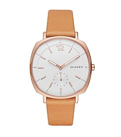 Skagen Denmark Women's Rose Goldtone Rungsted Watch With Natural Leather Strap