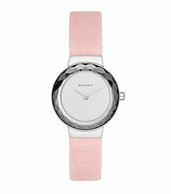 Skagen Denmark Women's Leonora Watch in Silvertone With Pink Leather Strap