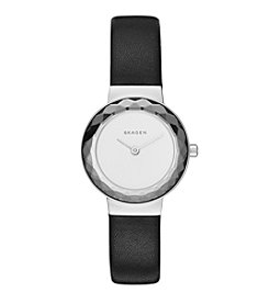 Skagen Denmark Women's Leonora Watch in Silvertone With Black Leather Strap