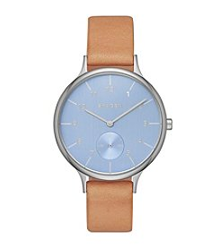 Skagen Denmark Women's Anita Watch in Silvertone With Natural Leather Strap And Blue Dial